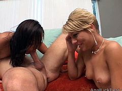 Incredibly horny chicks with small tits have to enjoy each other's company while they are fighting over this stud's juicy pecker. Make sure you don't miss this awesome sex video!