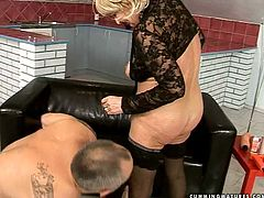 Flamboyant busty blond mature rides a dildo saddle with her bearded pussy while a kinky grey-haired daddy tickles her clit with a vibrator in sick sex video by 21 Sextury.