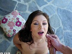 Lea Lexis is a saucy brunette ready to give her man an amazing pov blowjob. She tries a lot of poses, including upside down and she looks fabulous in all of them.