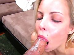 Naughty blonde tart Krystal Banks teases her lover with her fine round ass and wet pussy. It doesnt take him long to get rock hard and get his dick sucked.