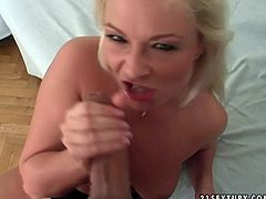 Naughty blonde chick Barbara is ready to suck your dick all night long. just look at her appetizing lips sliding penis stem up and down.
