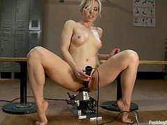 This amazing and desirable blond babe Ashely Fires spreads her legs for that special chain saw, modified for a pussy licking.