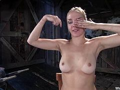 Pretty blonde chick gets tied up by her brunette mistress. After that she also gets stimulated with electricity. In addition she gets toyed with a vibrator and the strap-on at the same time.