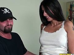 Sexy Nikki Daniels meets a guy in a bar and fucks him