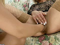 Dude, you'd better have a look at this super hot 21 Sextury xxx clip. Two awesome slender and bright blond lesbos wear black fishnet stuff and enjoy fisting each other's wet pussies for orgasm right on the small couch.
