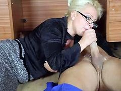 Office Milf Lana Cox wanks off her handymans big jizz tool
