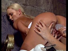 Stunning Silvia Saint and Simony Diamond have an amazing lesbian sex. They lick and finger each others pussies in close-up scenes. In addition they use big dildo to make it better.