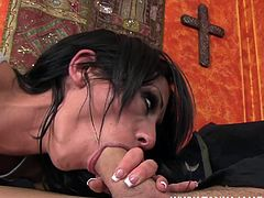 Dirty brunette loves it rough and enjoys having it so deep down that cunt