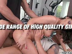 See the horny brunette temptress Madlin as she takes turns sucking and riding two hard cocks before getting viciously dped into a breathtaking explosion of orgasmic pleasure.