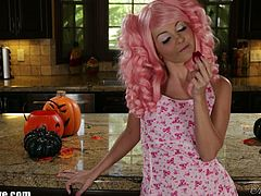 Aaliyah Love wears a very cute costume for Halloween. She rubs her nipples and pussy with strawberries.