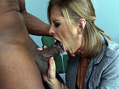 Bossy mom Mellisa doesn't fools around in front of men. She knows what she wants and makes her point. This time the hot blonde needs to fuck so she chooses the black dude. Mellisa likes big black cocks and after she gets pussy licked the pretty mom kneels and fills her throat with that bbc. What a a whore!