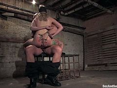What a sexy blondie is enjoying some abuse in this BDSM action. Babe gets different types of bondage and then she gets poked in her tight cave.