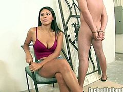 Well stacked babe Cassandra is a bout to punish one horny blindfolded stud. She starts to jerks off his stiff dick and swallows it deep in her throat.