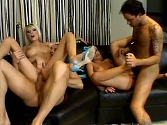 Two divine blond babes Jasmine Rouge and Jeniffer make out with two horny dudes. They give them skillful blowjob before riding them reverse cowgirl and cowgirl styles in peppering group sex orgy by Pornstar.