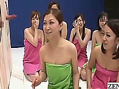 Towel clad Japanese milfs and cougars have a go at one of the most bizarre and preternatural game shows ever released in Japan as the tables are turned and CFNM husbands slide their erections through specially crafted glory holes for a rambunctious game of guess the private parts with subtitles