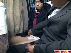 Young innocent Japanese schoolgirl got picked up on the bus and strokes an old pervert's cock then rides it for a nice orgasm!