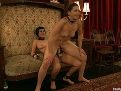 Two desirable and smoking hot sirens Cherry Torn and Sarah Shevon are enjoying each other so bad! They get naked and start making out with each other in a hot BDSM lesbian sex.