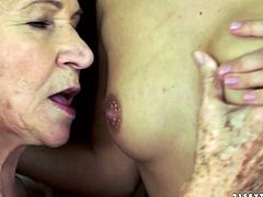 21 Sextury xxx clip provides you with two voracious lesbians. Old fat bitch in white huge panties lies on her back. Appetizing slender young brunette rubs her wet old cunt and causes her loud moans of delight.