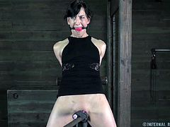 Elise Graves is tied up as her master is whipping her all over. He leaves visible marks on her body.