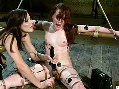 AnnaBelle Lee is going to get her pink shaved pussy even pinker when Bobbi Starr toys it copiously while she's tied up.