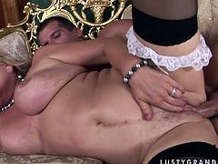 Extremely perverted mature slut needs a young stud to get full satisfaction. Sex-starved business lady takes her lover's dick for a long ride and then she gets into sideways position for hard fuck.