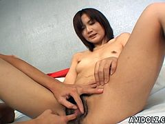 Hairy japanese loves having two guys drilling her hard in hot asian threesome
