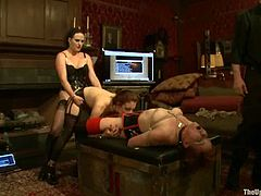 Iona Grace and Lilla Katt get humiliated and fucked by a hot dominatrix