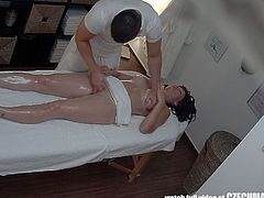 This hot busty czech milf went for a massage, but received something more. He nailed her tight shaved pussy with his schlong like never before!