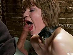 Blonde girl gets tied up and then toyed deep in her vagina. After that she gives a blowjob and gets her tight ass fucked doggystyle.