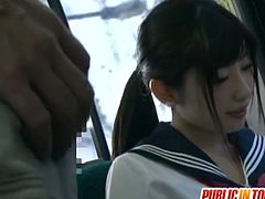 This young schoolgirl takes the bus home. She meets a guy who takes her somewhere quiet and fucks her from behind.