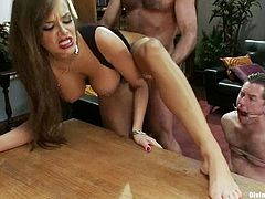 One of the guys is going to be dominated by Nika Noire, be fucked by her strapon dildo and made a cuckold.