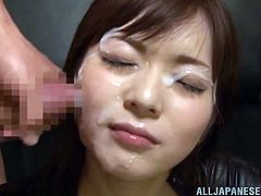 Damn this Japanese chick is pretty! Just look at her beautiful face and that satisfying smile, she knows what awaits her as the guys rub their cocks around her. Soon the cuties receives a few massive loads of cum on her face and absolutely loves it! Stay tuned for some more!