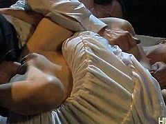 See a sexy and perverse brunette belle lifting her dress and letting her man pound her hairy pussy balls deep into a hell of an orgasm in this hot hardcore video.