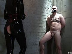 The latex-clad slut Maitresse Madeline is going to have fun in a pegging and femdom bondage session with a submissive guy.