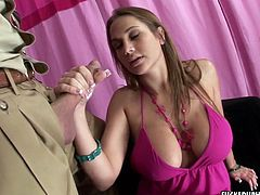 Hot tempered bosomy bitch gives tug job like nobody else before. Watch her big boobs right now. Her big jugs are everything your lust desires.