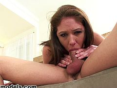 Horny gal in deepthroat action
