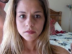 Cutie Veronica looks a bit dorky but she's a crazy slut. This latina bitch never gets bored when it's about fucking. She sucks her man's cock and then forms an upside down 69 with him. After all that oral sex she bends over and gives him her