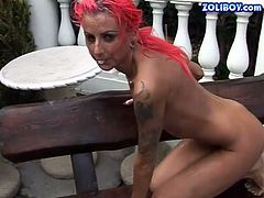 Creepy slut with pink hair and many tats is going extremely wild and dirty in 21 Sextury porn clip. Lying on a bench outdoor she is piss drinking and getting messy all over in urine.