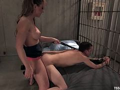 Busty blonde tranny Danielle Foxxx fucks a guy in a jail