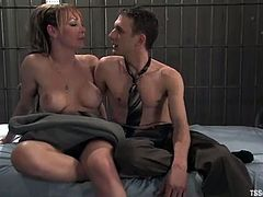 Hot shemale Danielle Foxxx is getting naughty with Steven Sweat in prison. She fucks then dude's ass doggy style and enjoys the way he moans.