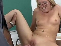Nasty Blonde student eaten and fingered by that chabr TeaCher and rides his banana inside that xxx vid .