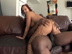 Katja Kassin is a lovely redhead with nice ass cheeks and round tits. She takes on a monster black cock from behind in the yard and then she rides it inside on a couch.