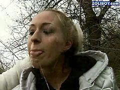 Bizarre harlot is serving her mouth piss drinking outdoor. When the couple indoor, the girl strips totally and kneels down to give blowjob. She gets mouth fucked hard.