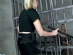 Blond haired prisoner with smooth rounded ass and sweet tits seduces horny blond cop. Dirty-minded gal jams cop's tits and big ass and desires to get her wet pussy teased right in the jail.