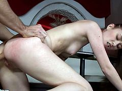 Skanky brunette hoe gets her nasty pimpled vagina nailed from behind