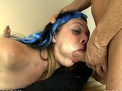 Face fucking is the best way to make an emo girl happy. So, this dude cope with it very well. He fucks this chick so deep in her mouth, so that she forgets that she is emo!