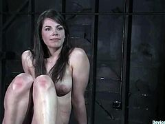 Sexy brown-haired girl with a ball gag in her mouth gets undressed and toyed. After that the guy puts this bitch in the cage.
