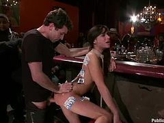 Busty brunette Princess Donna Dolore is having fun with a few men indoors. The guys make her suck their dicks, then tie her up and destroy her pussy and asshole.