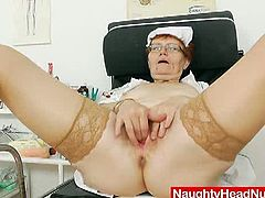 Watch how this old granny uses different toys on her old hairy pussy,Jindriska is playing role of a horny head nurse and she looks good in her nurse uniform.Don't miss it!