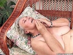 Aroused fucker has no other choice than fucking this fat granny with hairy twat